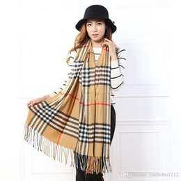 Wholesale Cotton Fashion Shawl - New Korean Autum Winter Soft Warm Scarves Female Thicken Plaid Cashmere Scarf Luxury Brand Women Men Lovers Cotton tassels Shawl And Scarves