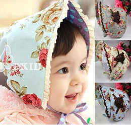Wholesale Baby Girls Summer Hats - Pure cotton baby floral roses princess cap