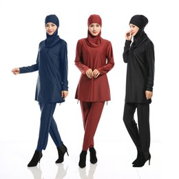 Wholesale Islamic Swimsuit Swimwear - S 4XL PLUS SIZE Modesty Muslim Women Swimwear Swimsuit Full Cover Muslima Covered Solid Swimsuits Islamic Beachwear Burkini