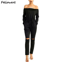 Wholesale Wholesale Plus Size Jumpsuits - Wholesale- Feliavert Fashion New Women Jumpsuits Off Shoulder Sexy Knee Hollow Ladies Casual Rompers Plus Size Black Pink Jumpsuit
