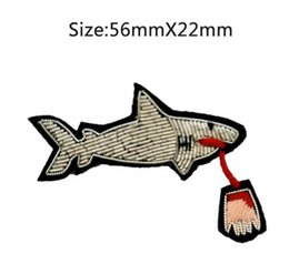 Wholesale Brooch Diy - 2017 DIY New High quality 3D HAND EMBROIDERED SHARK PIN Jewelry Patches Badge France BULLION WIRED BLAZER BROOCHES