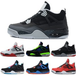 Wholesale Clear Military - High Quality air retro 4 4s men Basketball Shoes Pure Money Royalty White Cement Bred Military Blue Fire Red Premium Black Sports Sneakers