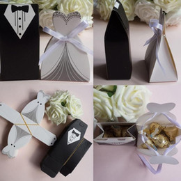 Wholesale Wedding Gift Cutlery - wholesale 100 Pcs set Bridal Gift Cases Groom Tuxedo Dress Gown Ribbon Wedding Favor Candy Box Wedding Favors And Gifts