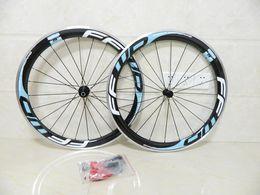 Wholesale carbon fiber alloy wheels - FFWD wheels F6R 50mm blue black clincher carbon fiber bike wheelset with alloy brake road bicycle wheelset free shipping
