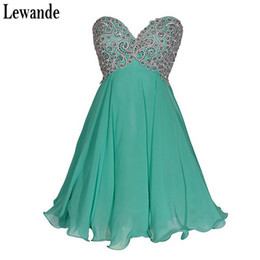 Wholesale Inexpensive Lace Dresses - Lewande Empire 2017 Elegant Sweetheart Chiffon Sleeveless Short Mini Lace-up Strapless Embroidered Sequins Inexpensive Homecoming Dresses