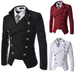Wholesale korean singer fashion - Korean Double-breasted slim jacket Male costume star singer dancer party stage wear outdoors performance show fashion high quality cool boy