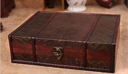Wholesale Chinese Wooden Box Antique - Chinese New Continental Retro Antique Wooden Treasure Chest Wooden Storage Box Creative Useful Jewelry Box Makeup Organizer