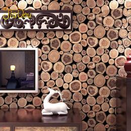 Wholesale Texture Wall Paper Roll - Super Thick 3D Wood Log Texture Embossed PVC Waterproof Wall Paper Roll Living Room Desktop Wallpaper Mural Papel De Parede