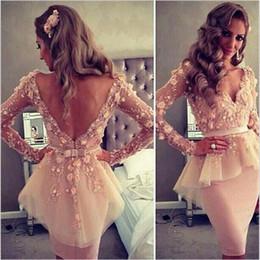 Wholesale Lace Flower Pencil Dress - Nude Short Prom Dresses Evening Wear Dubai Pencil Deep V Neck 3D Floral Sash Bow Short Prom Gowns Backless SE058