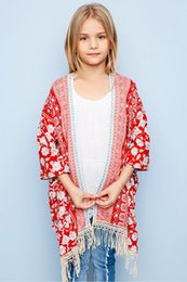 Wholesale Cardigan Childrens - Summer Teenager Floral Tassel Outwear Junior Fashion Cardigan Big Kids Girls Casual poncho 2017 childrens clothing