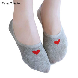 Wholesale Colored Cotton Socks Women - Wholesale- Women Socks Candy-colored Sweet Heart Printing Invisible All Matched Cotton Socks Meias #2801