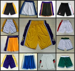 Wholesale Blazer S - Lakers Basketball Shorts Blazers Sport Training Shorts Celtics Team shorts Loose Polyester Classic Pockets For men With Logo Basketball Pant