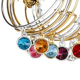 Wholesale Gold Birthstone - New Silver Gold plated birthstone charm bangle adjustable expandable steel wire birthstone bracelets birthday gifts wholesale free shipping