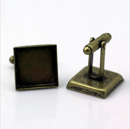 Wholesale Square Cabochon Settings - 50pcs with 25mm Wholesale Silver Plated French Cufflink Cuff links Blank Square Cameo Bezel Cabochon Setting Disc Tray