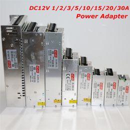 Wholesale Power Supply Adjustable 5a - Wholesale-Adjustable DC 12V LED Power Supply 1A 2A 3A 5A 10A 15A 20A 30A AC100V 110V 127V 220V 230V to DC12V Led Driver Power Transformer