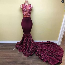 Wholesale Sexy Rose Flower Girl - Burgundy 2K17 Black Girls Prom Dresses Long Plain Sexy Sheer Neck Rose Flowers Satin Long Train Mermaid Evening Gowns Formal Party Dress