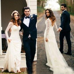 UK wedding dress line sheath - Bohemian 2017 Bridal Dresses Country Full Lace Sheath Wedding Dresses V-Neck Long Sleeves Backless Sexy Vintage Plus Size Boho Bridal Gowns
