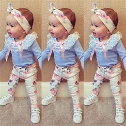 Wholesale Wholesale Suites - Wholesale- 2016 autumn baby girl clothes 3pcs Headband+T-shirt+Floral Pants Flower Band T-shirt pants baby clothing sets baby 3piece suite