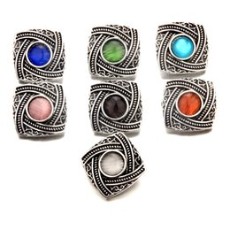 Wholesale Ginger Cats - 20pcs lot Mix Colors Cat Eye Square Noosa Chunks Metal Ginger 18mm Snap Buttons Jewelry Findings