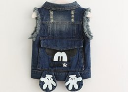 Wholesale Hot Pretty Girls - Lowest Price Hot Sale pretty kids Tank Tops baby girl bow Lace embroidered denim vest waistcoat outwear blue denim Waistcoat 5pc lot