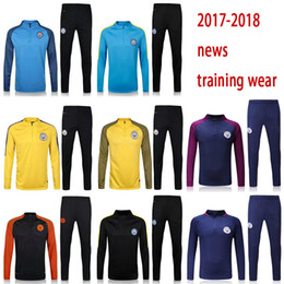 Wholesale Men S Clothing Sport - free shipping 17 18 man Soccer jerseys Men's Jackets+Pants Sport Clothes Jogging Football Training Suit Fashion Outerwear Tracksuit city