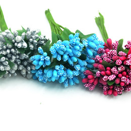 Wholesale Flower Families - 12pcs mini bud stamens family garden handmade artificial bouquet wedding merry christmas decoration DIY pearl craft fake flower