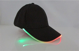 Wholesale led light cotton ball - Hot Fashion Black Cotton Fabric LED Lighted Glow Club Party Hats Travel Baseball Cap