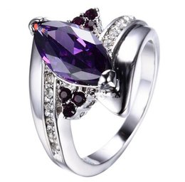 Wholesale Amethyst Engagement Rings White Gold - Men Women's Purple Amethyst Ring New Fashion White Gold Ring Promise Engagement Rings For Couples Charm Crystal Jewelry