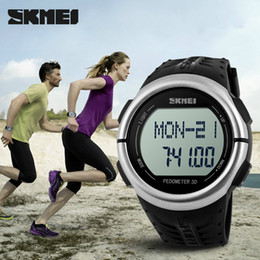 Wholesale Heart Rate Monitor Brands - SKMEI Brand Sports Wristwatches Pedometer Heart Rate Monitor Calories Counter Fitness For Men Women Digital LED watches 1058