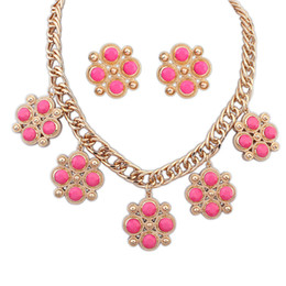 Wholesale Fine Candies - Fine Jewelry sets Korean Fashion Necklace Set flowers candy color all-match gemstone Flower Earrings combination two piece