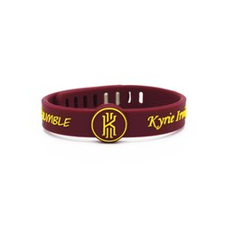 Wholesale Basketball Wristbands - 2PC Kyrie Irving rubber bracelets Debossed'AND HUMBLE' silicone wristband Red color soft silicone bangle for men basketball