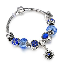 Wholesale antique snake bracelet - Antique Blue Charm Bracelet & Bangle with Snowflake and Flower Crystal Beads Women Wedding Valentine's Day Gift AA127