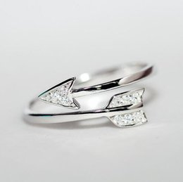 Wholesale 925 Rings For Girl - Wholesale- New Arrivals 925 Sterling Silver Rings For Women Girl Cupid Arrow Crystal Zircon Rings Adjustable Rings Free Shipping