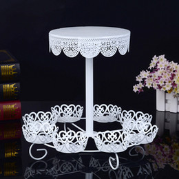 Wholesale Hot Cake Stands - White Lace Shape Dessert Holders Two Layers 8 Cakes Rack Durable Metal Iron Cupcake Stands Sturdy Hot Sale 28jd B