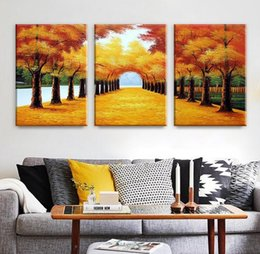 Wholesale hand landscapes forest - 100% Hand-Painted Oil Paintings Landscape Forest Autumn Trees Trail Modern Abstract Artwork Wall Decor Home Decoration