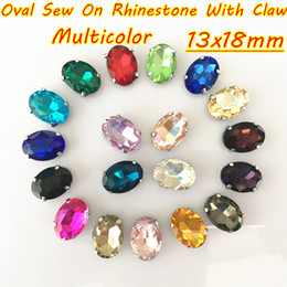 Wholesale Base Claws - 100pcs 13x18mm DIY Oval Silver Base Glass Crystal Sew On Rhinestone With Claw For Clothing Dress Decoration Multicolor