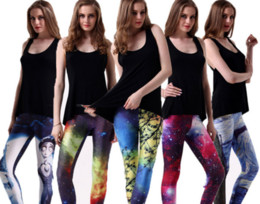 Wholesale Women S Galaxy Leggings - In-business new Black Milk Galaxy Print leggings fitness leggins for women pants Muscle Skull wholesale New fashion