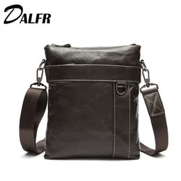 Wholesale 13 Inch Leather Messenger Bag - Wholesale- DALFR Cowhide Messenger Bags 13 Inch Fashion Zipper Style Bags for Men Solid Genuine Leather Water Proof Briefcase Shoulder Bag