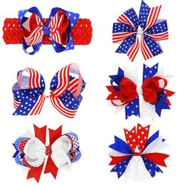 Wholesale Stripe Ribbon Hair Bows - Baby Girls Independence Day bow hairpins stars and stripes Grosgrain Ribbon bow hair accessorry cute bowknot hair pin for kids gifts
