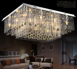 Wholesale new light life - free shipping New modern minimalist rectangular crystal chandeliers, chandeliers, lights, LED life, luxury crystal lights LLFA