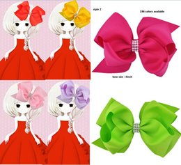 Wholesale Alligator For Kids - 4style available !4inch Rhinestone Hairpins Baby Girl Boutique Ribbon Hair Bow Alligator Clip for Kid Teens Children drop shipping 24pcs