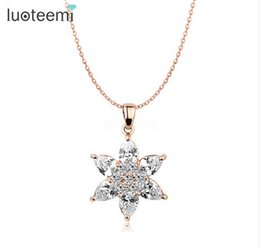 Wholesale Rose Gold Star Necklace - LUOTEEMI Fashion Rose Gold-Color Clear Zircon Stars Crystal Pendant for Women Chain Elegant Necklae Jewelry Gift Factory Sale