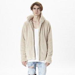 Wholesale Reversible Hoodies - Wholesale- 2016 new arrival reversible mens coat hoodie brand clothing fur cool jackets for men clothes kanye west fleece sherpa jacket