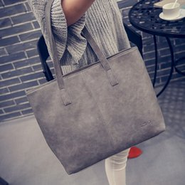 2019 bolsos de cuero de diseño gris Al por mayor-Las mujeres friegan el bolso de cuero negro gris Causal bolsa de asas de gran capacidad bolso de hombro compras bolsos de lujo mujeres bolsos de diseño bolsos de cuero de diseño gris baratos