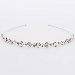 Wholesale Silver Chain Headpieces - Fashion Women sliver plated Chunky Chain Head Band Piece Crystal Hair Headpiece Party Wear Accessory H032