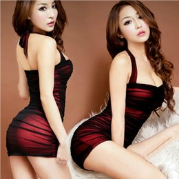 Wholesale Transparent Stewardess - Women Hot Sexy Lingerie Costumes Sexy Underwear Slim Hip Female Sleepwear Stewardess Uniforms Transparent Tight Dress