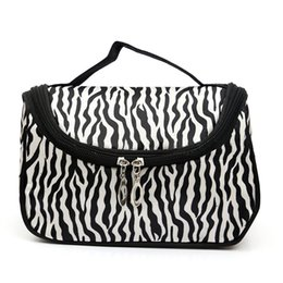 Wholesale Patent Leather Handbags Wholesale - Wholesale- Zebra-stripe Makeup Bag Patent Leather Waterproof Cosmetic Pouch Travel Handbag Casual Purse For Ladies LBY2017