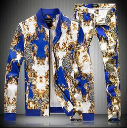Wholesale Flat Stand - new (jacket+pants) male spring autumn cotton jacket suit printing fashion slim casual 2 pieces sets tide oversize long sleeve coat outfit