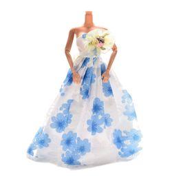 Wholesale Long Dress For Wedding Coat - 1 Pcs Doll Fashion Dress Wedding Gown 22.5cm Long Veil Trailing Dress For Barbies Dolls Accessories Purple Pink Blue Color