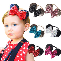 Wholesale Minnie Mouse Hair - baby gold sequin bow headband toddler nylon headbands glitter hair bows baby girl minnie mouse ears birthday party supplies hair accessories